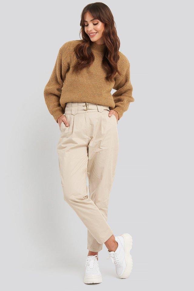 Silvery Knitted Sweater Brown Outfit