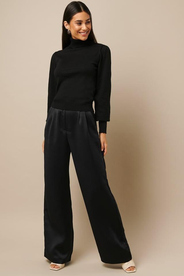 High Waist Flowy Pants Black Outfit