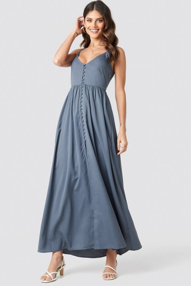 Button Up V-Neck Dress