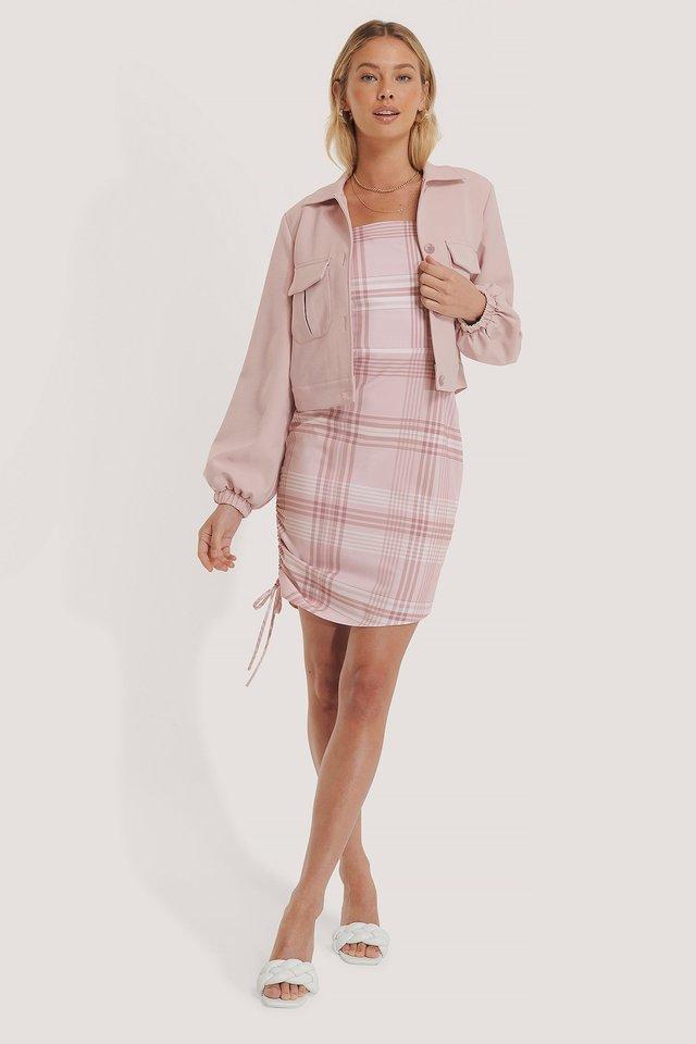 Pink Check Mini Robe À Cordon