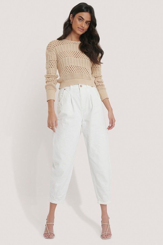 Pattern Knitted Cropped Sweater