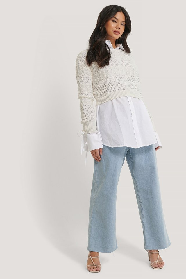Pattern Knitted Cropped Sweater Outfit