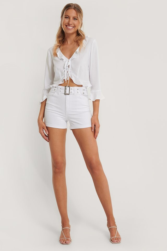 Frill Detail Tie Top Outfit