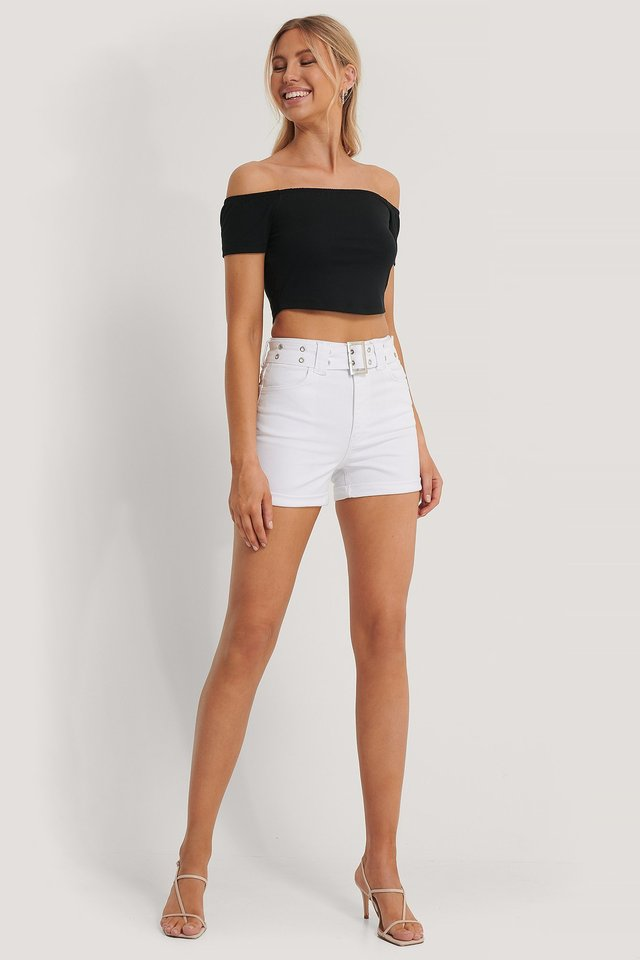 Belted Denim Shorts Outfit