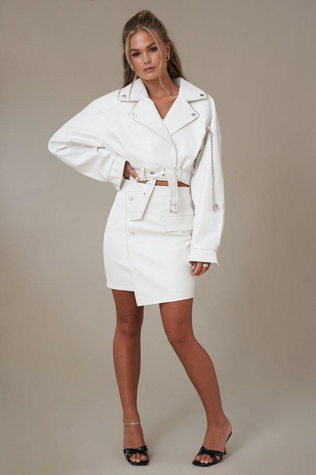 Asymmetric Faux Leather Mini Skirt
