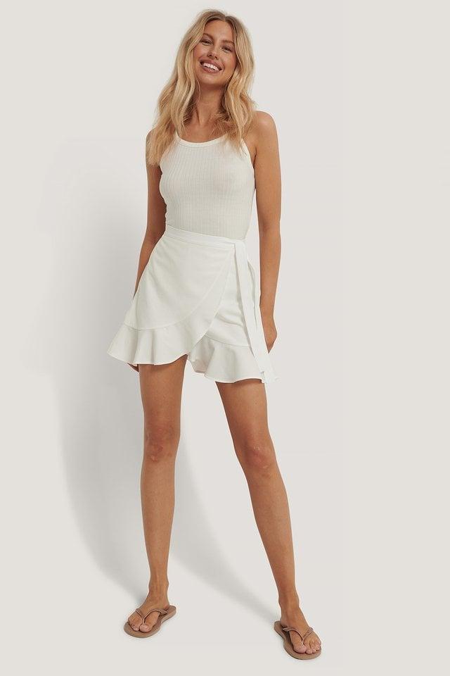 White Paper Waist Mini Skirt