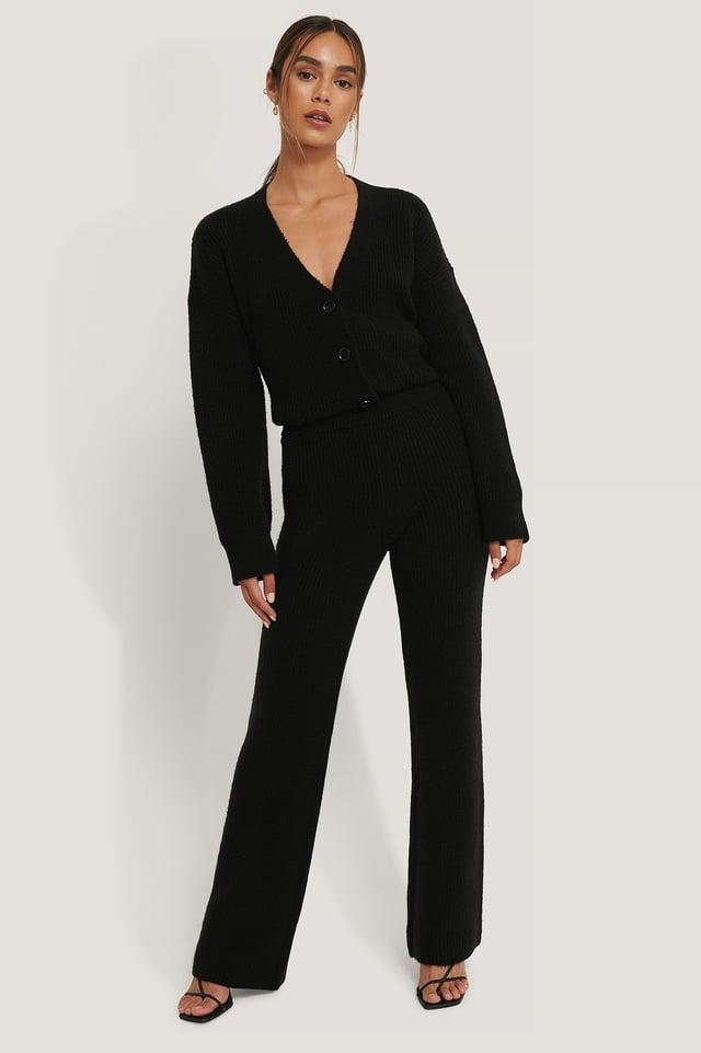 Black Pantalon De Costume Évasé À Plis Sur Le Devant