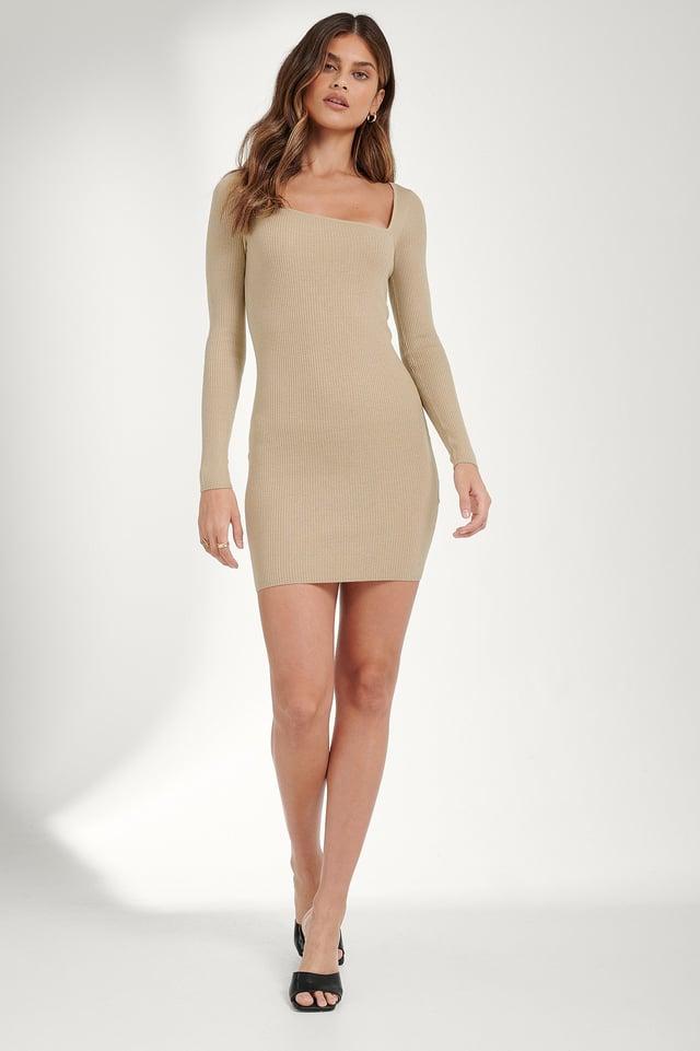Asymmetric Neck Dress Outfit