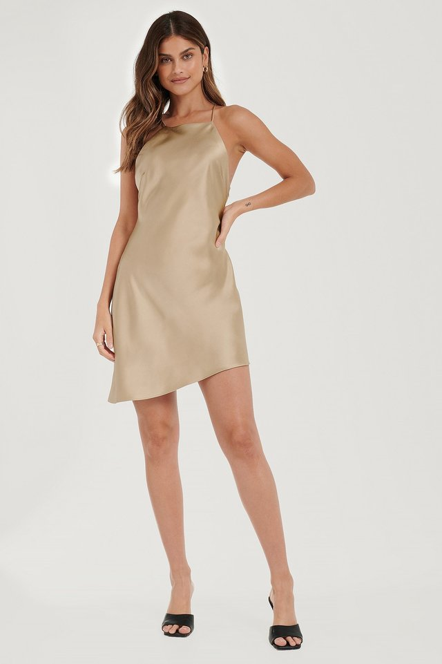 Open Back Satin Dress Outfit
