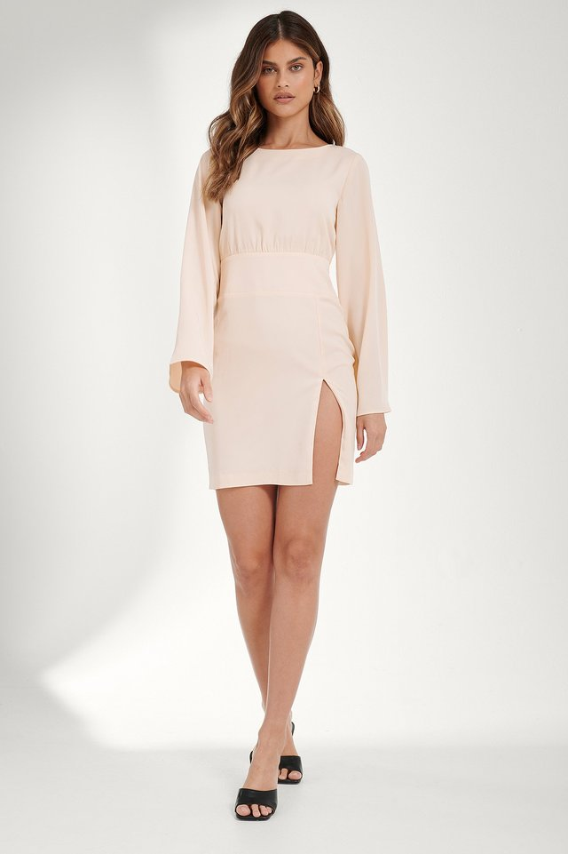 Front Slit Draped Dress Outfit