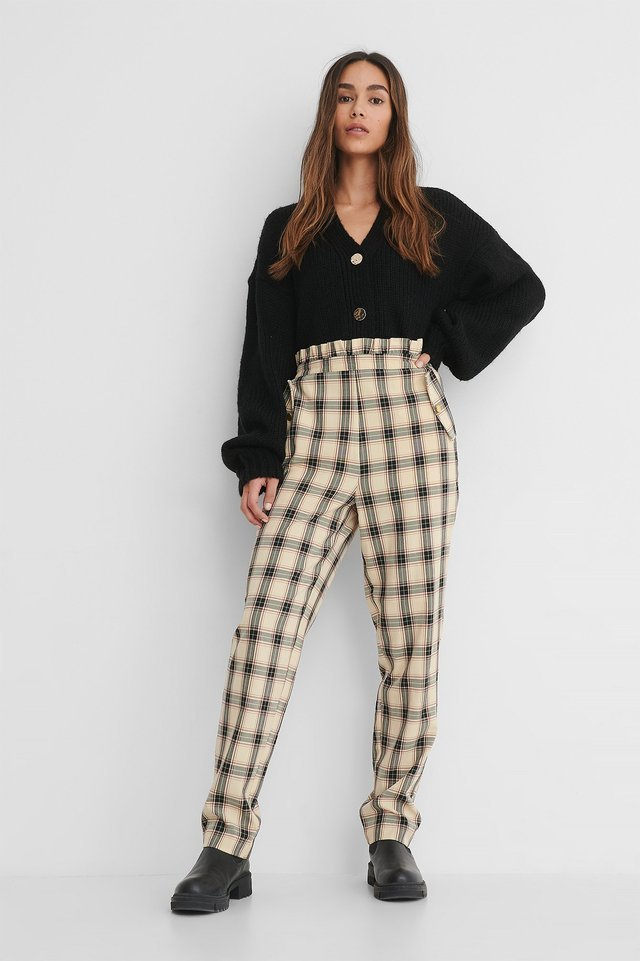 Checked Frill Detail Pants