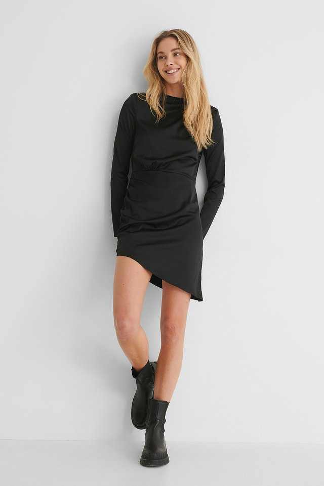 Marked Shoulder Draped Mini Dress with Covered Rubber Sole Boots