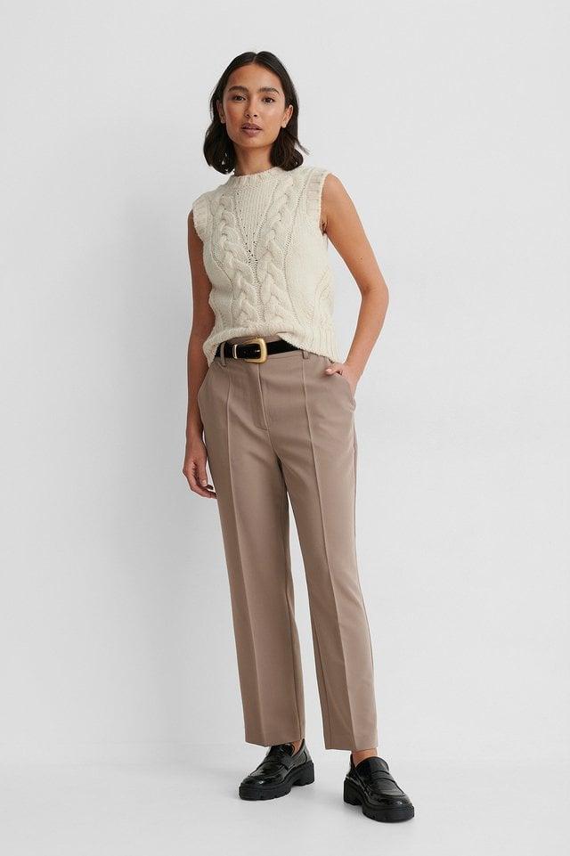 Taupe Pantalon De Costume Court Taille Haute