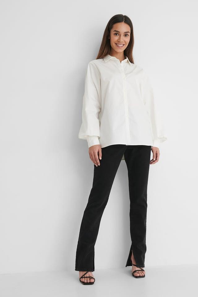 Oversized Cotton Shirt with Black Denim.