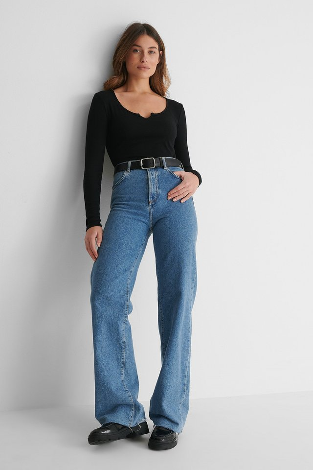 V-Neck Cropped Rib Top