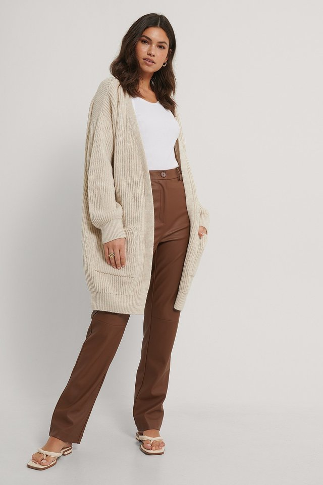 Knitted Midi Length Cardigan Outfit.