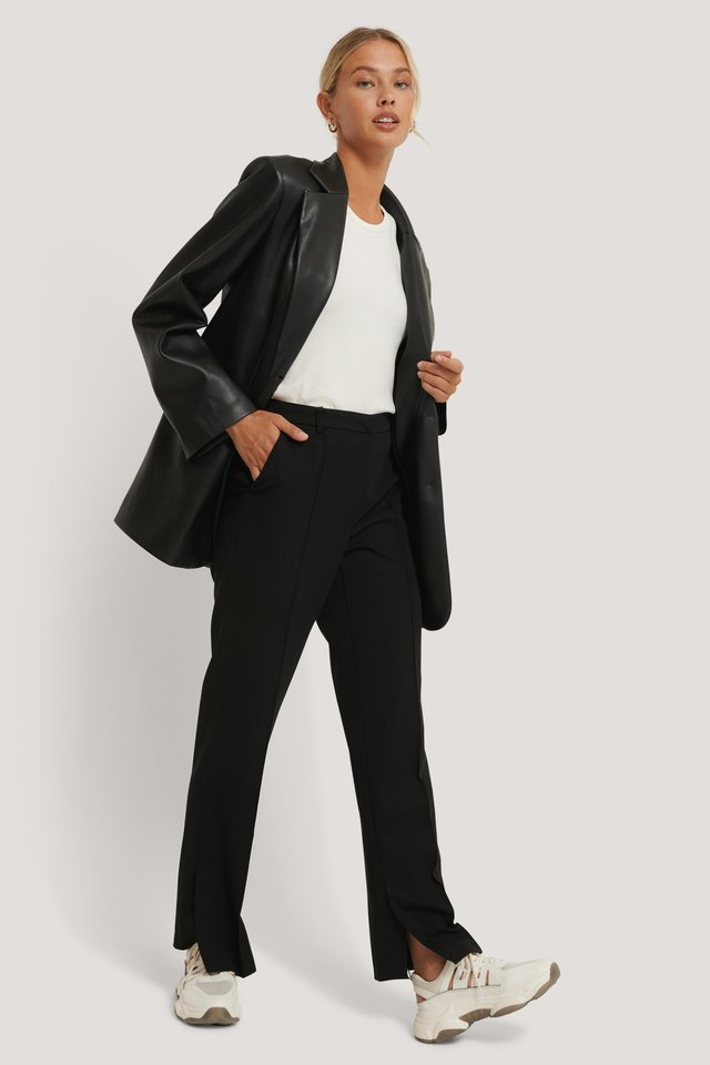 Side Slit Tailored Pants Outfit.