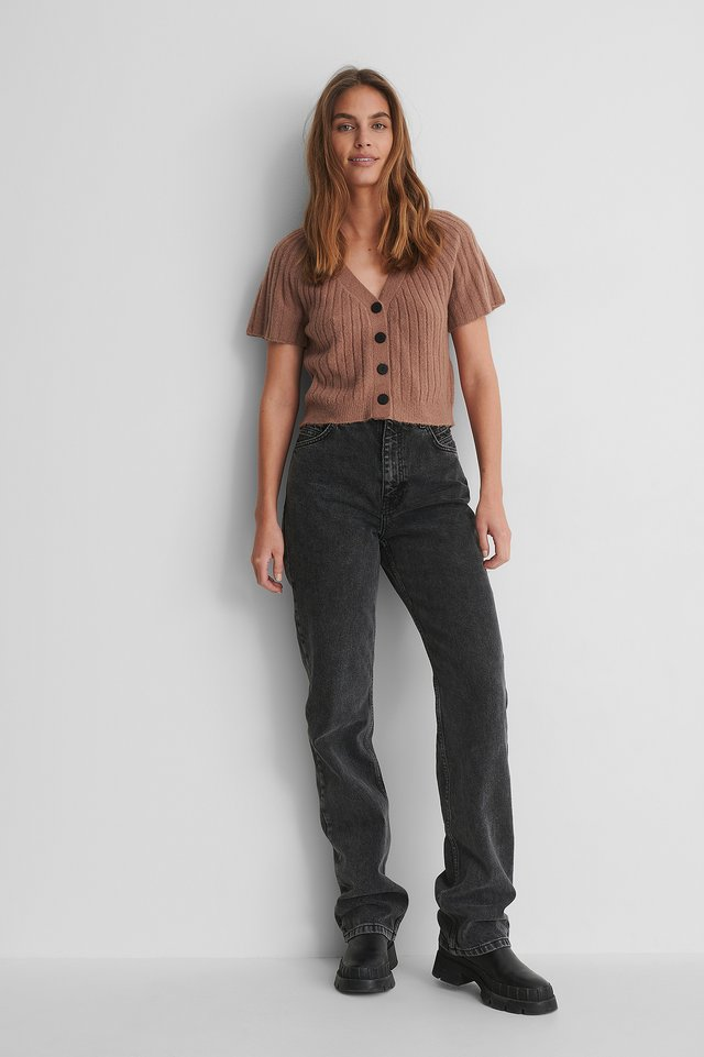 Dusty Pink Pull Tricoté Manches Courtes