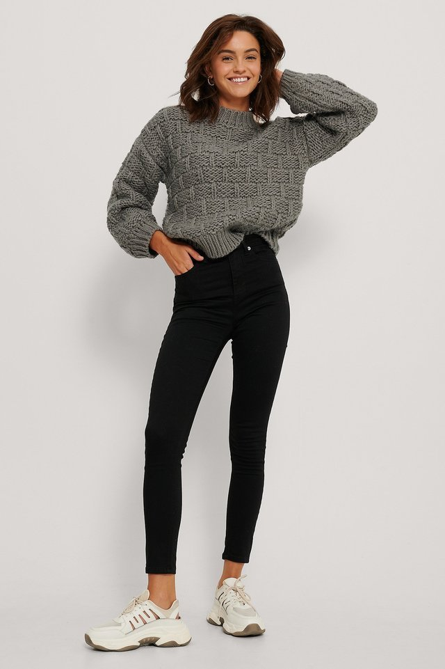 Organic Skinny High Waist Jeans Outfit.