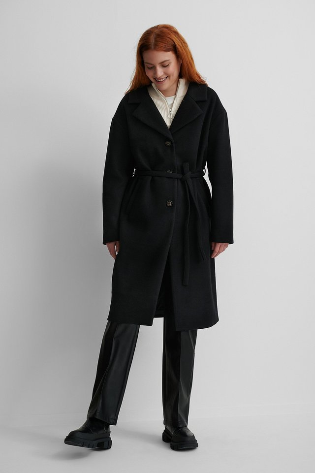 Classic Belted Coat Black.