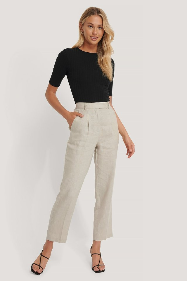 High Round Neck Ribbed Tee Outfit.