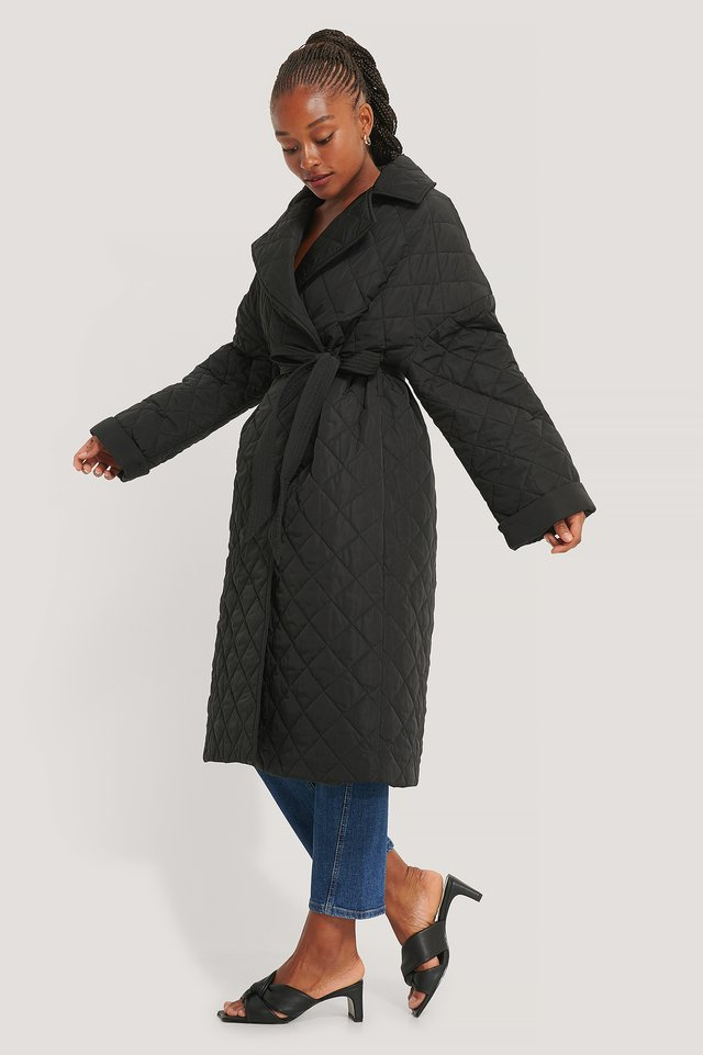 Back Slit Quilted Coat Outfit.