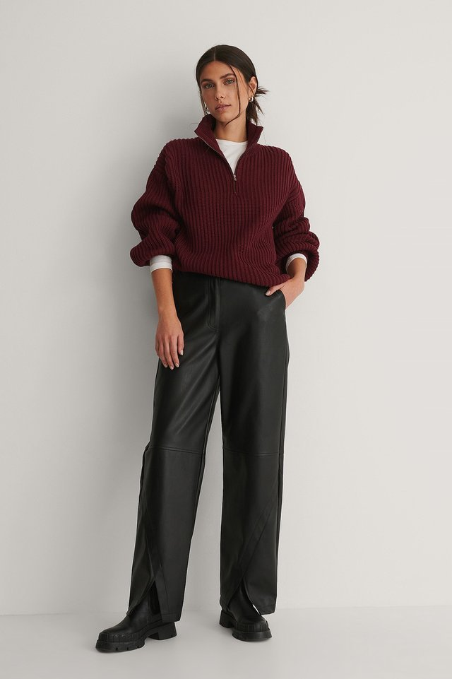 High Neck Zipped Knitted Sweater Outfit.