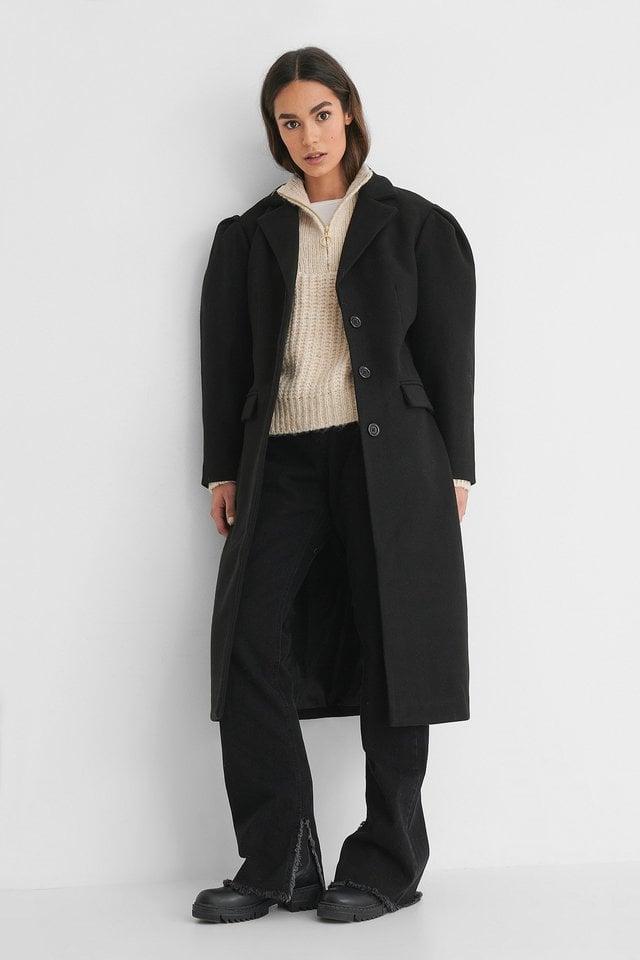 Puffy Sleeve Marked Waist Coat.