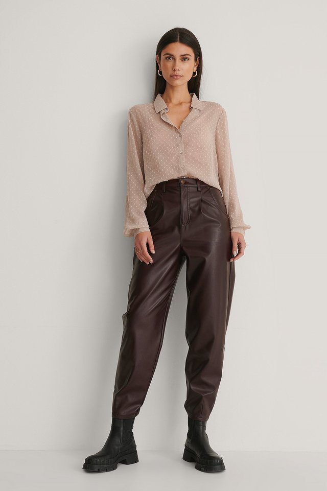 Dobby Loose Fit Blouse Outfit.