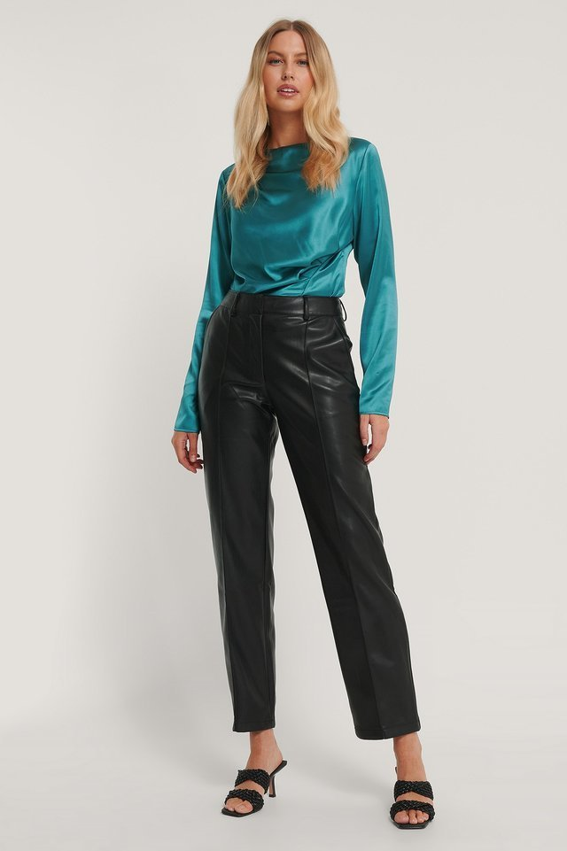 Gathered Satin Blouse Outfit.