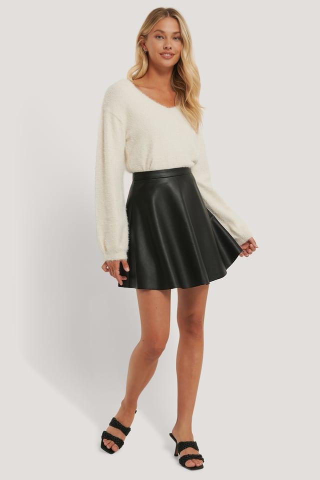 Circle PU Skirt Outfit.