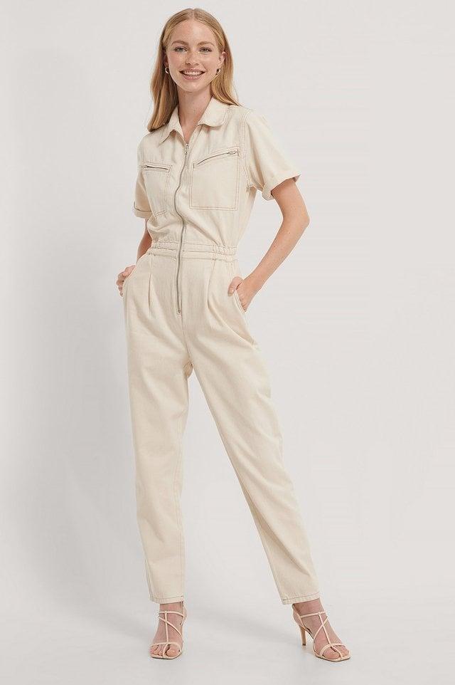 Ecru Combinaison Pantalon En Jean