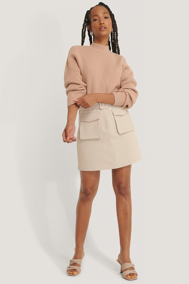 Diagonal Detail Knitted Sweater Outfit.