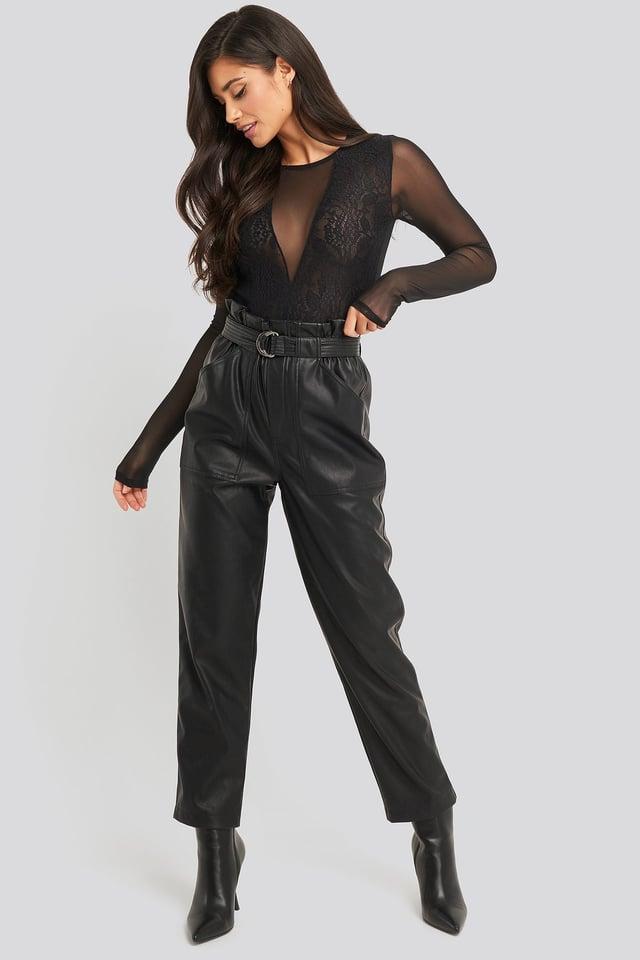 Black Lace Mesh Sleeve Body