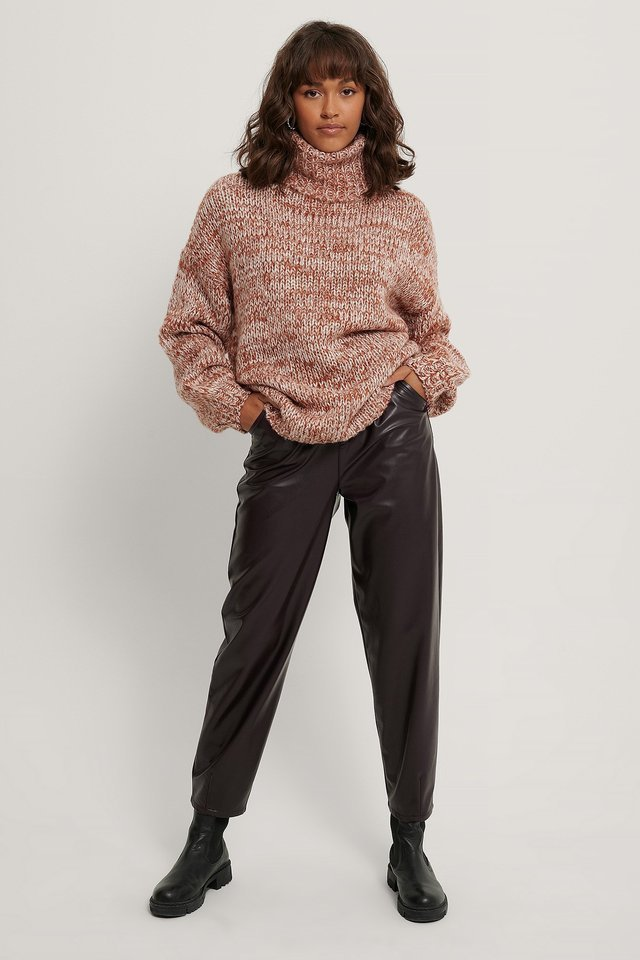 Two Colored High Neck Knitted Sweater Outfit.