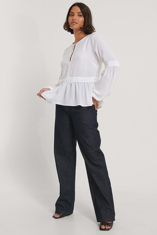 Recycled Pleated Waist Flowy Blouse Outfit.