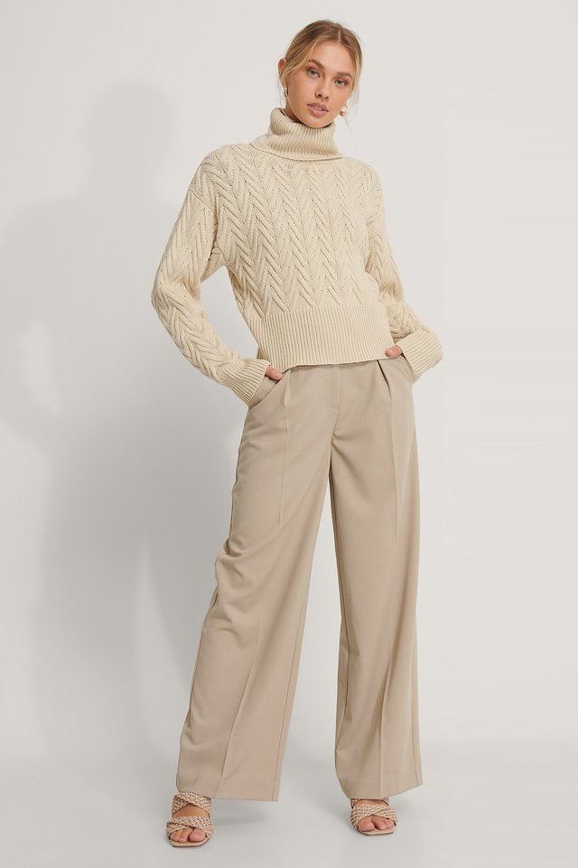 High Neck Pattern Knit Sweater Outfit.