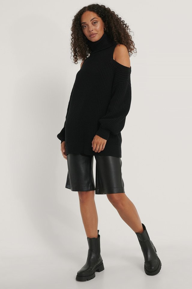 Cut Out High Neck Knitted Sweater Outfit.