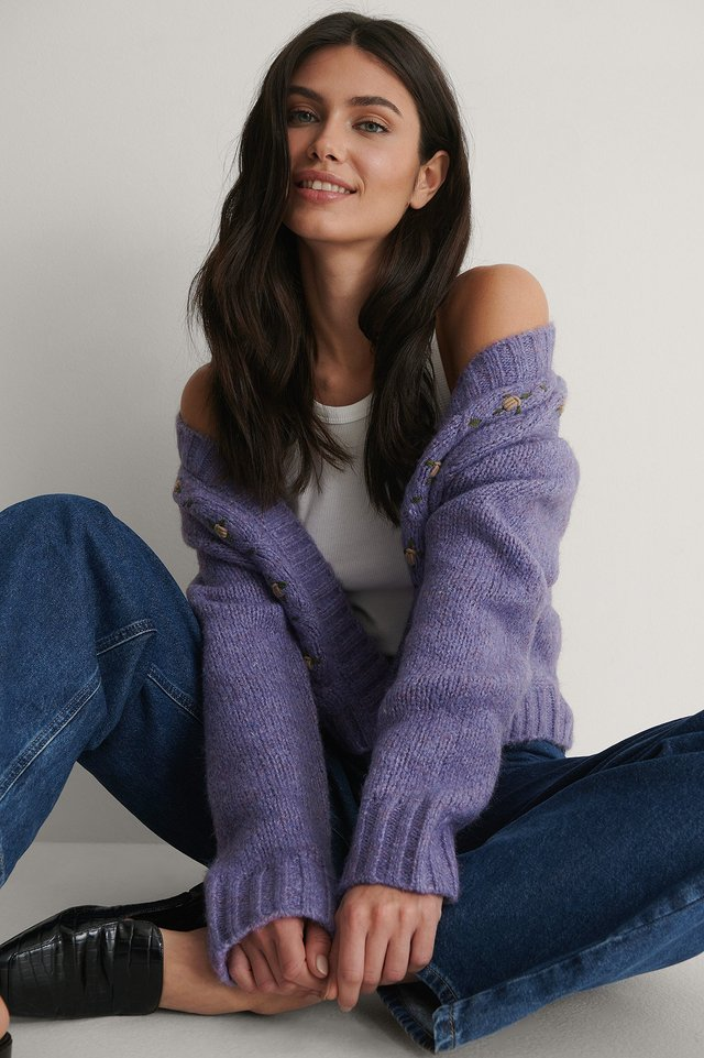Purple Cardigan Tricot