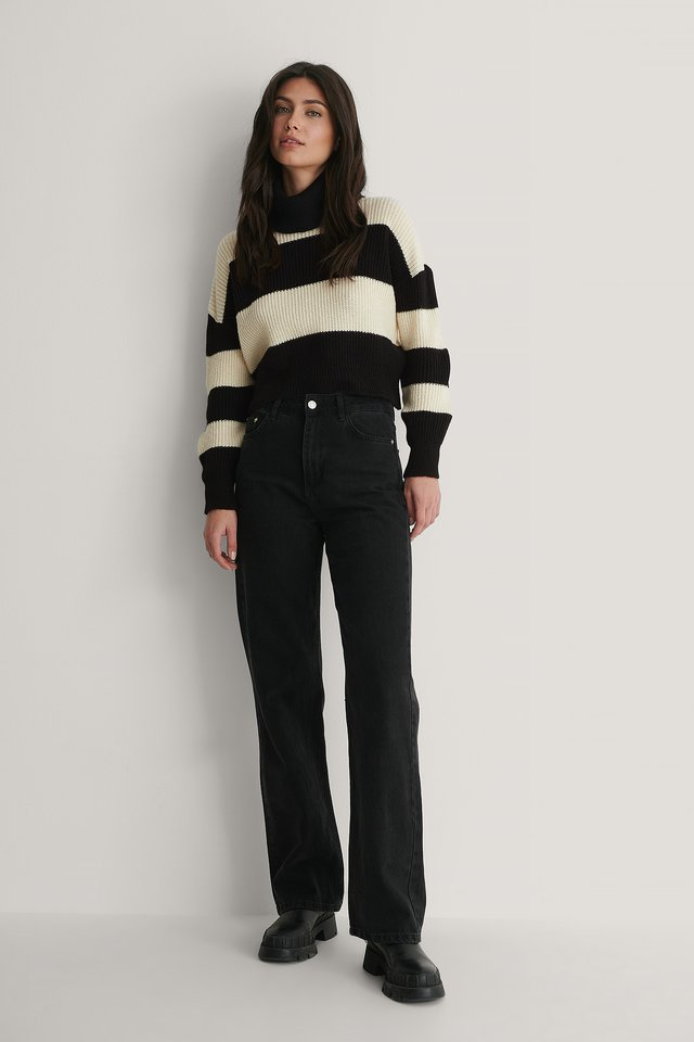Stripe Knit Sweater Outfit.