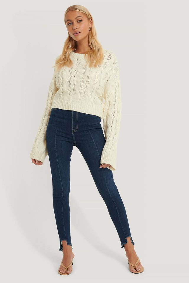 Organic Super High Waist Asymmetrical Hem Jeans Blue.