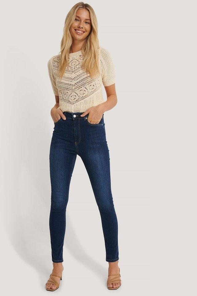 Dark Blue Skinny High Waist Jeans