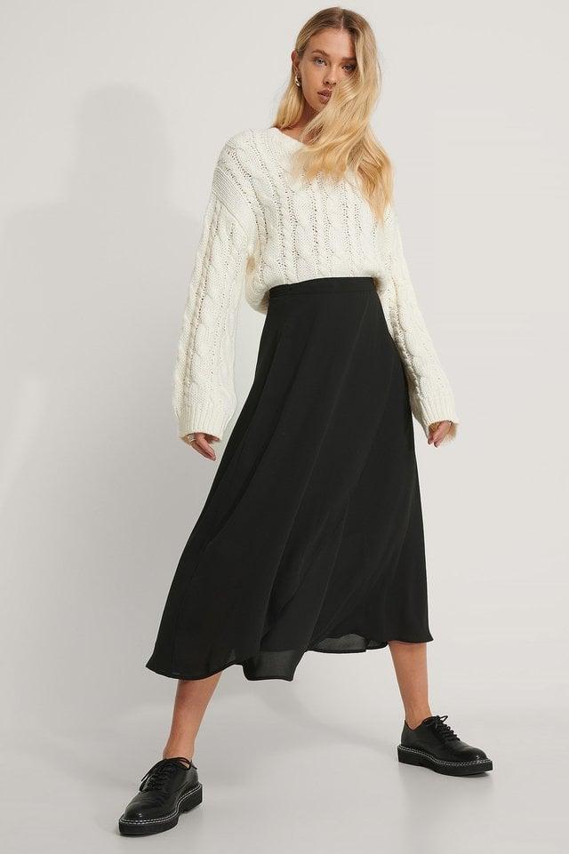 Midi Wrap Skirt Outfit.