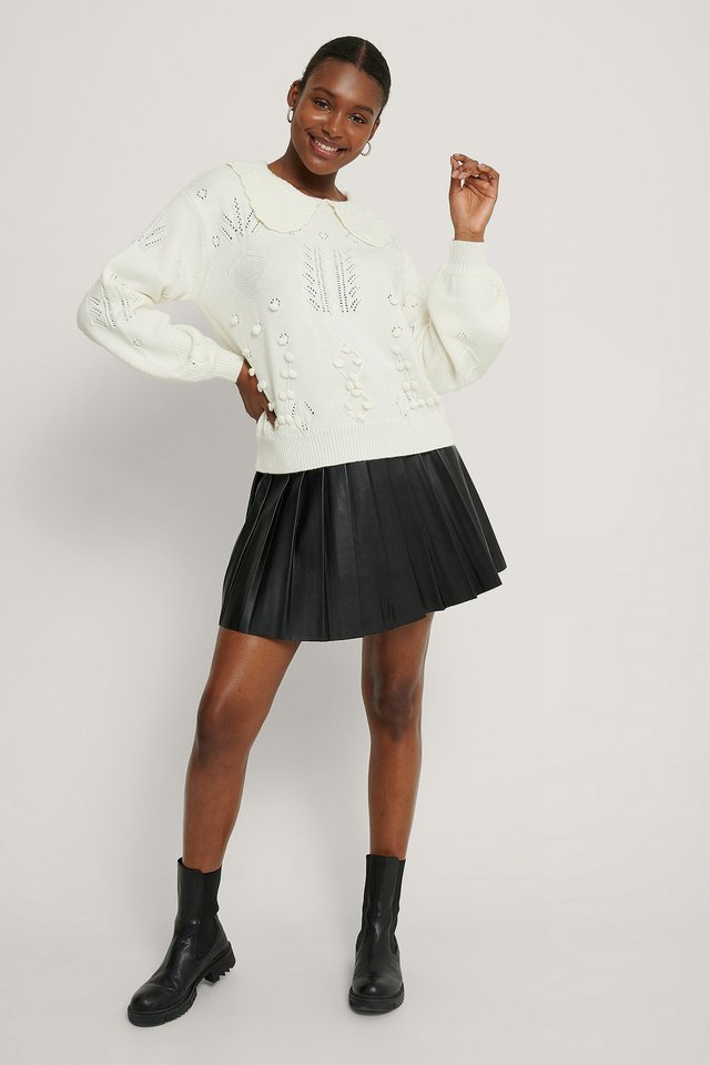 Collar Detail Knitted Sweater Outfit.