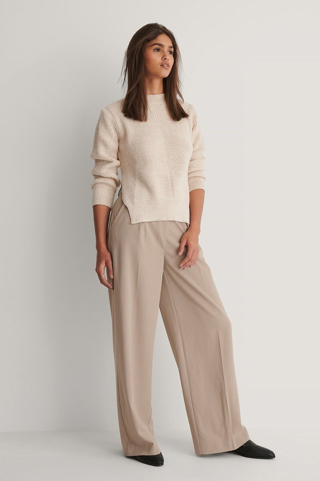 Round Neck Side Slit Knitted Sweater Outfit.