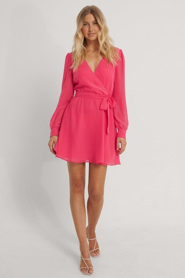 Front Wrap Chiffon Dress Outfit.