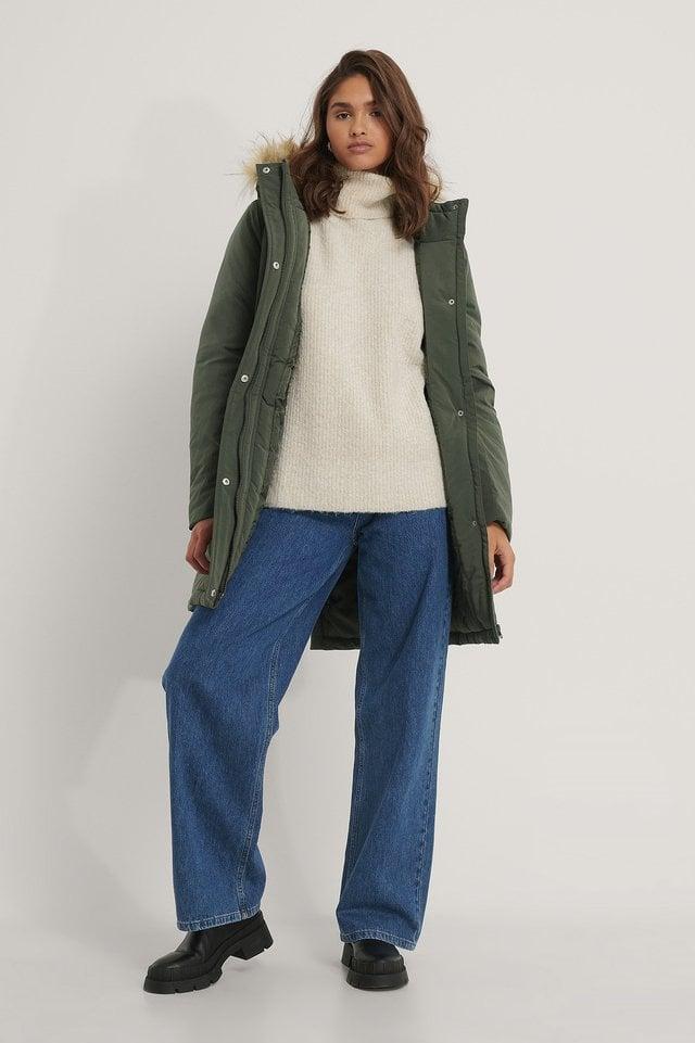 Mid Blue Biologiques Jean Large Taille Haute
