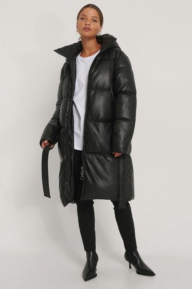 Belted PU Padded Jacket Black.