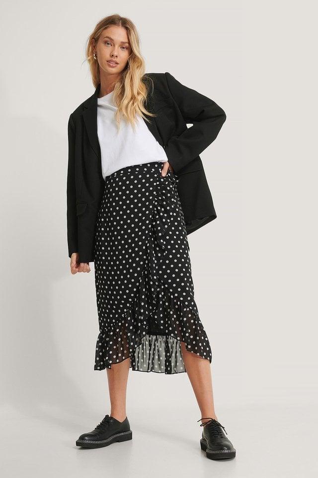 Wrap Sheer Midi Skirt Outfit.