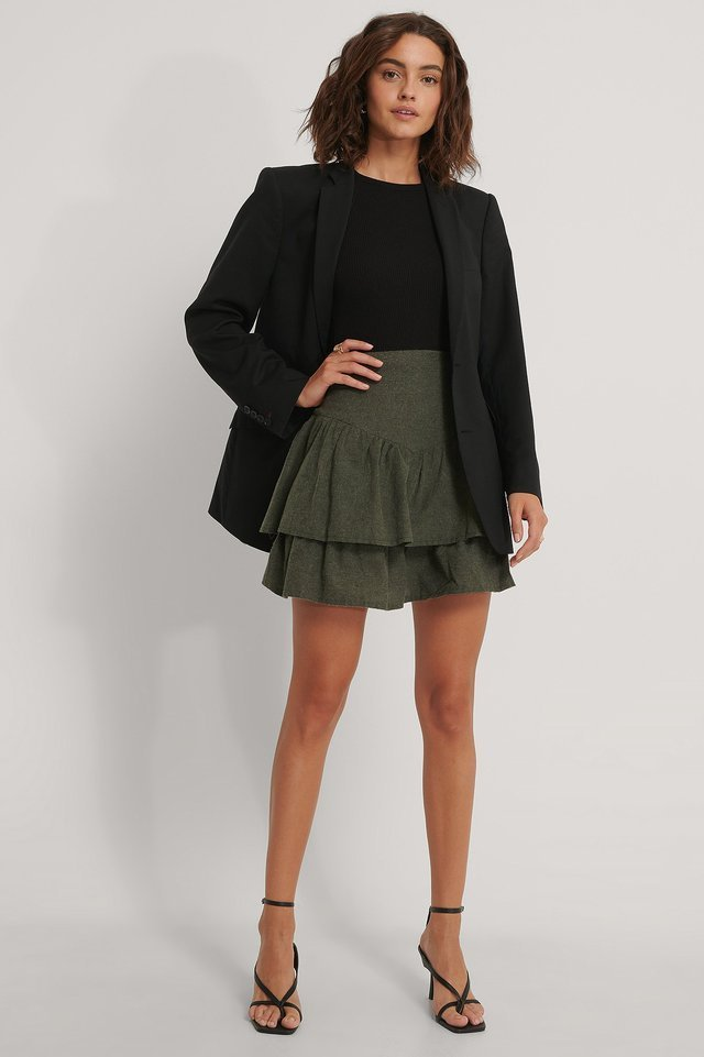 Ruffle Mini Skirt Outfit.